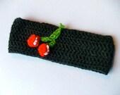 Crochet Cherries Headband Ear Warmer