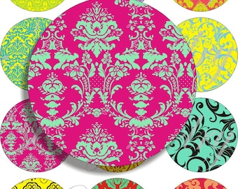 Crazy Damask images large circles for pocket mirrors and more digital collage sheet No.1110