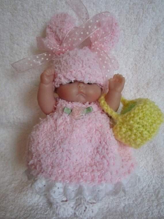 Knitted Easter Bunny Baby Doll Dress fluffy pink set for 5 inch Berenguer baby doll easter basket with grass included