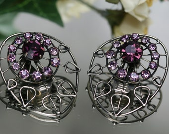 Vintage Silver Tone and Purple Rhinestone Clip Earrings
