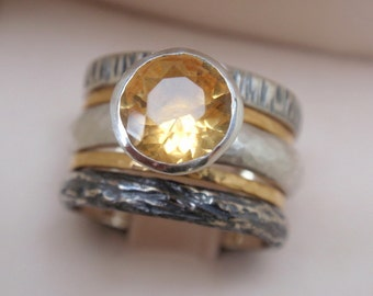 citrine ring engagement ring set of 5 natural november birthstone 14k yellow gold rings st silver wedding bands gemstone ring wedding ring