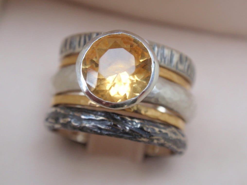 Citrine Ring Engagement Ring Set Of 5 Natural November