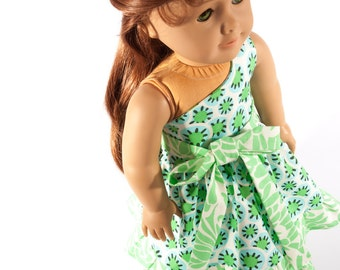 American Girl doll clothes, 18 inch doll clothing, trendy, one shoulder dress, Amy Butler, ruffled, green, PattiKuz original handmade design