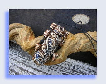 Inro, Large, Art pendant ,Faux Bone,  Ancient Aztec- ish style, Primitive Tribal Native, filigree, handmade out of polymer