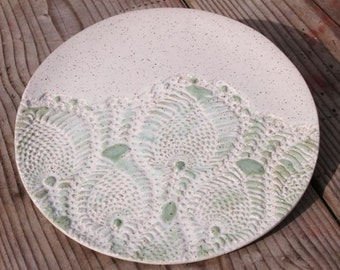 Bridges Pottery Decorative Cheese Plate   Specialty- Serving-Plate-White and Green IN STOCK