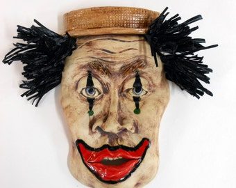 Stoneware Clown Wall Mask