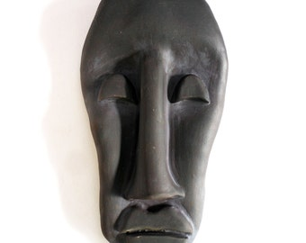 Moai Man Stoneware wall sculpture-ceramic art mask