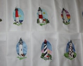 Scenic Lighthouses Machine Embroidered Quilt Blocks Set A