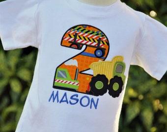 Dump Truck Birthday Shirt / Construction / Orange