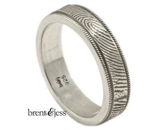 Milgrain Edge Handcrafted Fingerprint Wedding Band with Exterior Wrapped Print in Sterling Silver