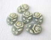Vintage Flower Cabochon Cameo White Rose Grey Resin 14x10mm pcb0231 (6)
