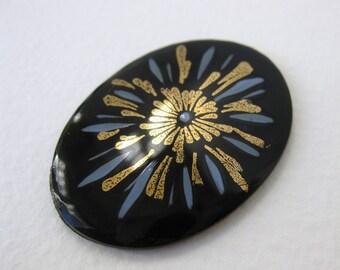 Vintage Flower Cabochon Black Glass Gold Blue Decal 40x30mm gcb0712 (1)