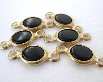 Vintage Bead Drop Jet Black Glass Channel Set Connector Charm Brass 22mm vgb0539 (6)