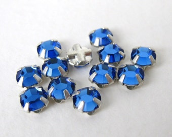 Vintage Bead Swarovski Crystal Rose Montees Sapphire Sew On 5mm swa0403 (18)