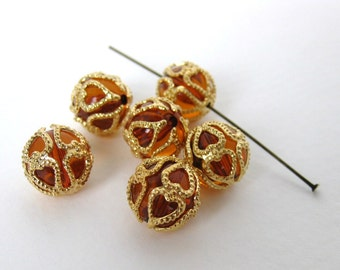 Vintage Beads Topaz Gold Filigree Bead Cap Lucite Plastic Rounds 12mm vpb0111 (6)