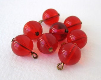 Vintage Plastic Bead Drops Ruby Red Brass Wire 10mm vpb0087 (8)