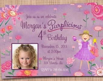 Purplicious Custom Birthday Photo Invitation AND Thank You Card Package