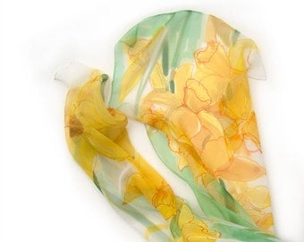 Daffodils silk scarf. Hand painted silk chiffon scarf in green and yellow. Long floral scarf. Spring fashion. Lightweight scarf painted KA17