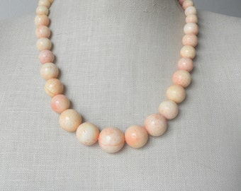 Peach Pink Melon Yellow Rosy Dawn Beaded necklace Sunrise Chunky Sorbet Sponge Coral Marble Swirl