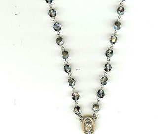 Handmade Rosary Necklace w/OurLady of Quadaloupe in AB Periwinkle Cut Glass Crystal