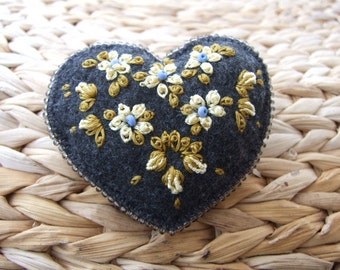 Heart Shaped Pin  with Silky Cream Flowers
