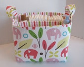 RESERVED for Sherri, Ex-Large Pink/Coral Elephant Fabric Organizer Basket with  Divider