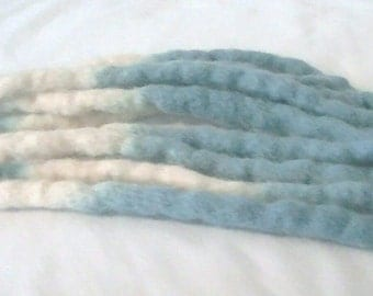 Custom Quantity Blue and White Transitional Wool Dread Dreadlock Clubbing