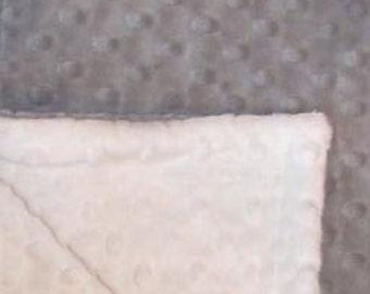 Grey and cream minky dot baby blanket