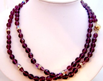 Long Amethyst and Clear Crystal Bead Vintage Necklace