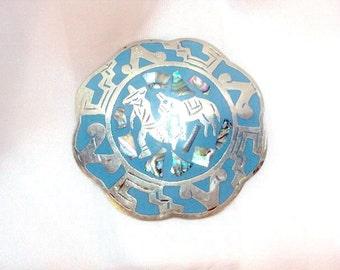 Large Silver Enamel Abalone Pin Pendant - Vintage