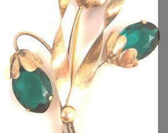 Emerald Green Sterling Silver Vermeil Vintage Flower Pin