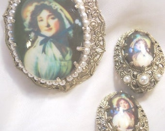 Vintage Portrait Pin and Earring Set with Faux Pearls West Germany