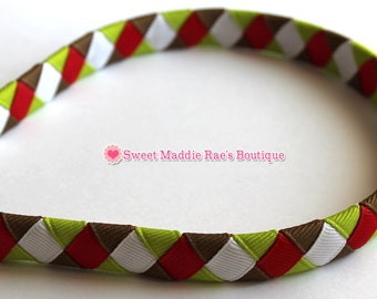 Woven Headband-Red, White, Lime, & Mudpie