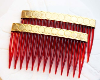 Set of 2 Honey Comb Hair Accessories