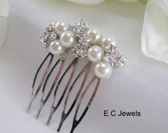 Small Pearl and Rhinestone Comb