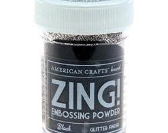 Black Glitter finish Embossing Powder, Zing Embossing Powder, 1 oz Jar, Black Embossing Powder