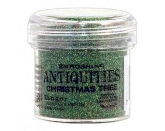 SALE: Christmas Tree Embossing Powder, Antiquities Embossing Powder by Ranger, 1 oz Jar, Green Embossing Powder