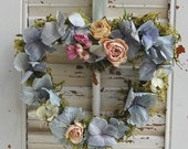"Dried Flower Heart Wreath / Spring Wreath / Cottage Decor / Hydrangea Roses and Moss 7"" x 8"""
