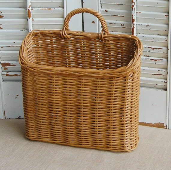 Vintage Wall Basket Wicker Basket Hanging By Roseflower48