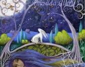 Moon and mother earth art print by Amanda Clark