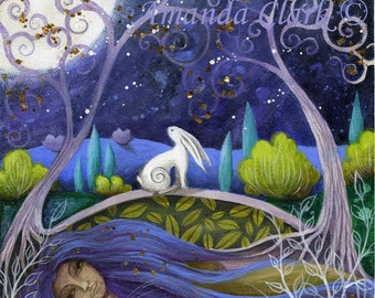 Moon and mother earth art print by Amanda Clark