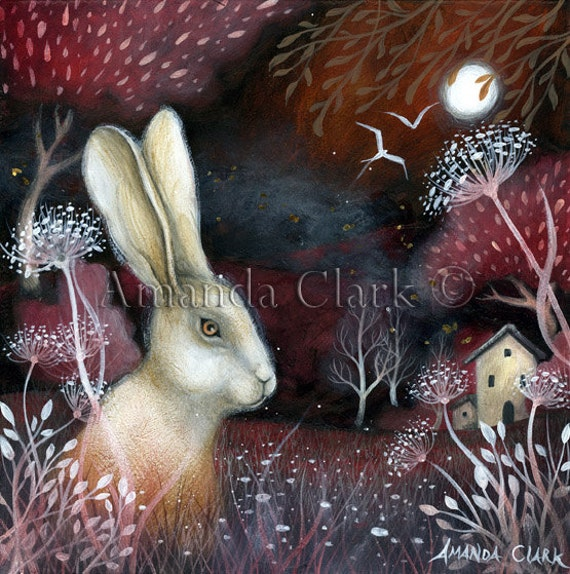 Art print by Amanda Clark, Ruby Fields, hare art, whimsy art, illustration, landscape art