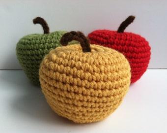 Amigurumi Crochet Apple Baby Rattles - Set of 3 Nursery Decor Baby Shower Gift Plushie Apples Gift Under 50 Plush Gift For Baby