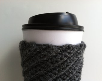 Crochet Coffee Cup Cozy Sleeve - Charcoal Gray Gift under 10 Eco Friendly Reusable Washable Gift for Coffee Lover Hot Chocolate Cup Cozy
