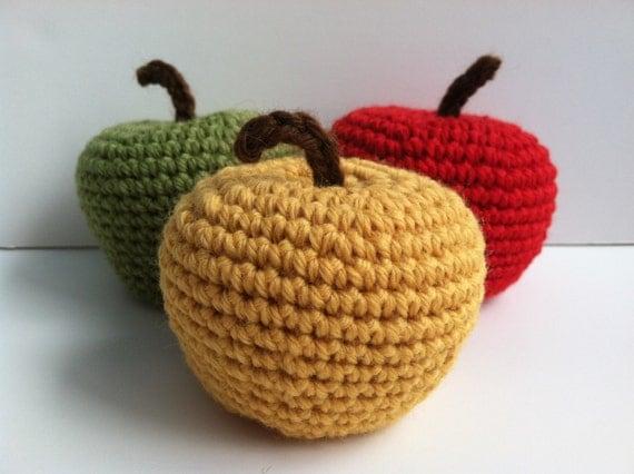 Amigurumi Crochet Apple Baby Rattles Set of 3 Nursery Decor