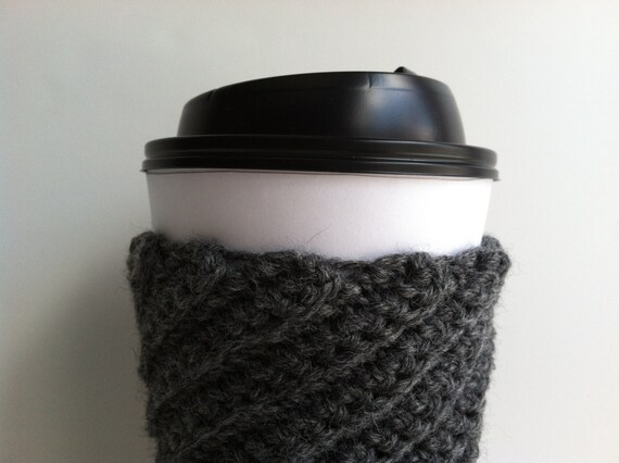 Crochet Coffee Cup Sleeve - Charcoal Gray