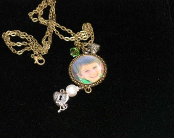 Mothers Day Personalized Photo Charm Necklace for Mom