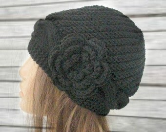 Hand Knit Womens hat  , Cloche Victorian black Hat  with black  flower ,  Fall Winter Fashion , Winter hat  fashion  accessories