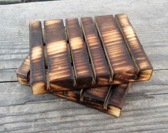 Rustic Bathroom Decor - Wood Soap Dish Set - Rustic Kitchen Brillo Pad Dishes