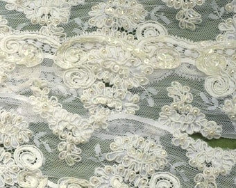 Vintage Embroidered Lace Pearls Scallops Floral Yardage